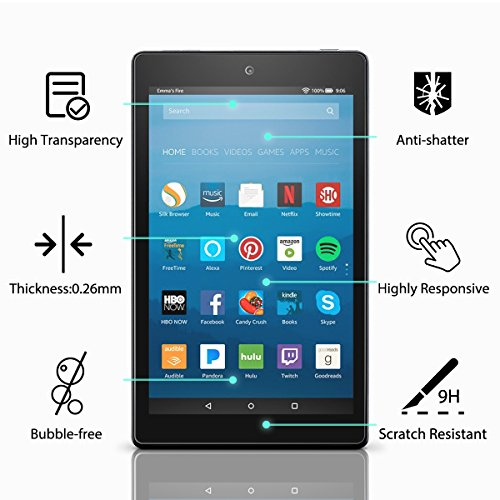 All-New Fire 7 Screen Protector,Tempered Glass Screen Protector Film for Amazon Fire 7 Tablet with Alexa (7th 2017 Release) [9H Hardness] [Crystal Clear] [Bubble Free]