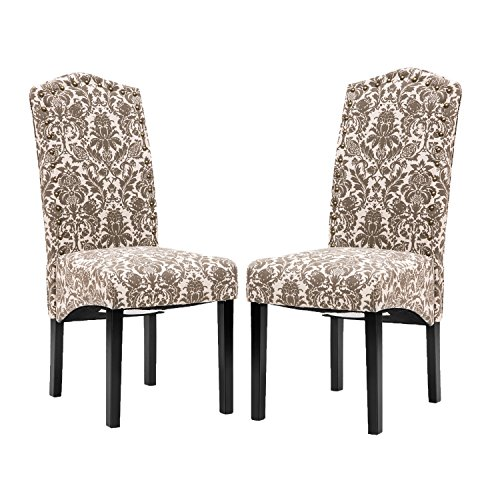 Merax PP036312EAA Ding Chair Fabric Accent Dining Room Solid Wood Legs, 18'' W x 22'' D x 41'' H, floarl by Merax (Image #4)