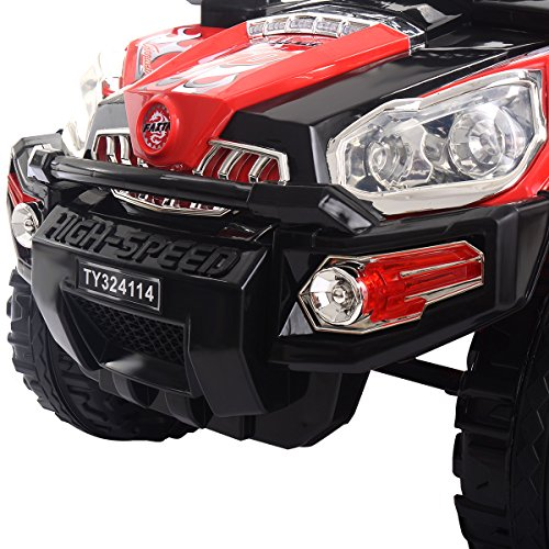 Costzon Ride On Truck, 12V Battery Powered Car, Parental Remote Control & Manual Modes Vehicle w/ Colorful LED Lights, MP3, Volume Control, Overload Protection for Kids (Red+Black) by Costzon (Image #4)