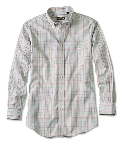 ton Wrinkle-Free Pinpoint Oxford Shirt/Regular, Tan/Multi, X Large (Wrinkle Free Pure Cotton Shirt)
