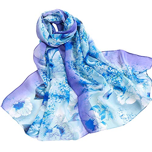 Fashion Scarfs for Women Hot Sale,DEATU Girls Floral/Lotus Printing Long Soft Wrap Scarf Ladies Shawl Scarves (Free Size, a-Blue) from DEATU