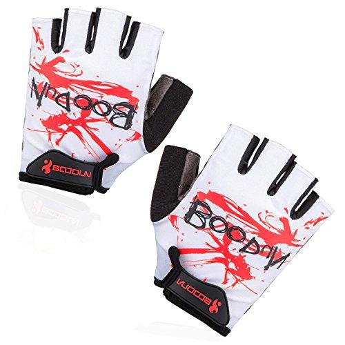 - BOODUN Shock-Absorbing Foam Pad Breathable Half Finger Cycling Gloves, White, Medium