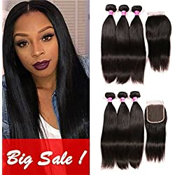 Brazilian Hair With Closure 3 Bundles Unprocessed Virgin Brazilian Straight Human Hair Bundles With Lace Closure Free Part QinMei Hair Extensions (12 14 16 +10)