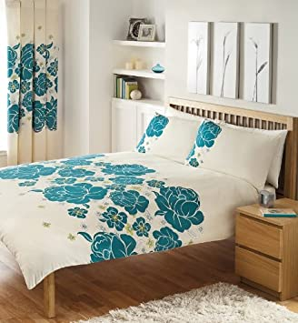 Cream Teal Lime Double Duvet Cover Bed Set