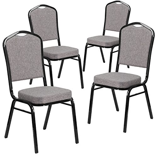 Flash Furniture 4 Pk. HERCULES Series Crown Back Stacking Banquet Chair in Gray Fabric - Black Frame