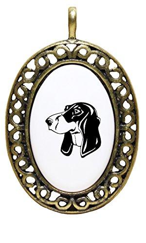 Price comparison product image Berner Laufhund Head Black Porcelain Pendant Antique Style Frame