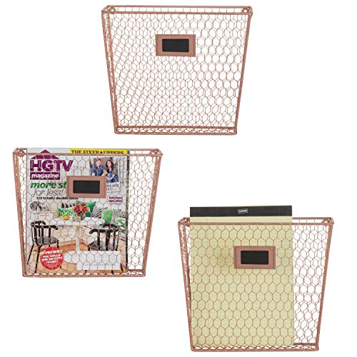 MyGift Set of 3 Wall-Mounted Copper-Tone Chicken Wire Magazine & File Folder Baskets (Copper Hanging Baskets)