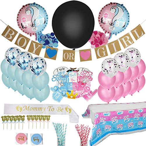 148 Pieces | Gender Reveal Party Supplies | Gender Reveal Decorations | Reveal Gender Party Supplies | Stylish Decoration | Fun | Safe | Disposable | All in One | Blue Color | Pink Color | Generous Quantities | Gender Reveal Pack | Reveal Tablecloth | Pink/Blue Paper Straws