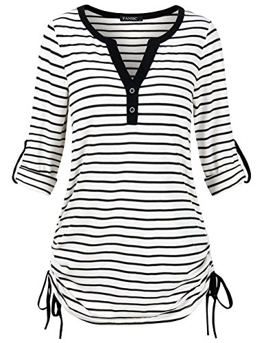 (FANSIC Casual Women Shirts, Women's Black and White Stripes Long Sleeve T-Shirt Tops)
