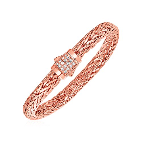 - Mia Diamonds White Sapphire And Rose Gold Vermeil Embellished Bracelet in 925 Sterling Silver