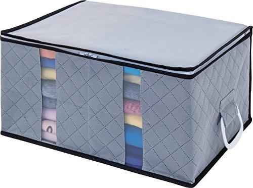 1Storage Charcoal Fiber Clothing Organizer Bag, 2Cells, Carry Handles, Grey (Polypropylene Storage Box)