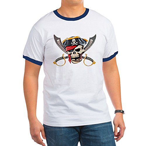 Royal Lion Ringer T-Shirt Pirate Skull Eyepatch Gold Tooth - Navy/White, Small
