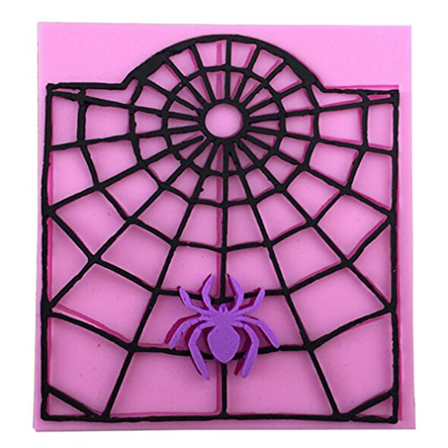 TraveT Spider Web Halloween Fondant Cake Decorating Tools, Silicone Mold Cupcake Topper Kitchen Baking -