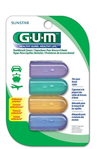 GUM Anti-Bacterial Toothbrush Covers (Pack of 1) 4 Covers per Pack, For Travel or Home