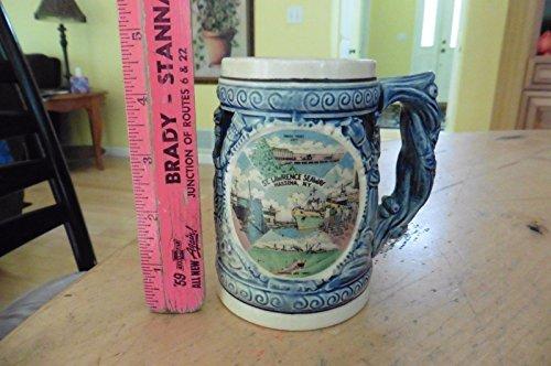 Vintage St Lawrence Seaway Mug stein cup souvenir Ceramic Massena NY Blue Japan