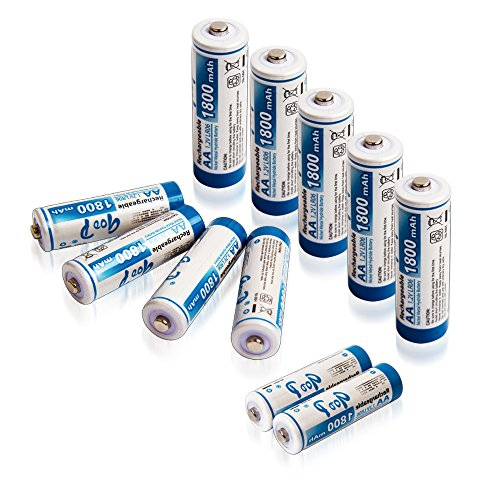 GODP 1200 Cycles Capacity 900 /1000mAh AAA 1500 / 1800 / 2300 / 2500 / 3000 mAh AA Nickel Metal Hydride Ni-MH Rechargeable Batteries (12, AA 1800mAh)