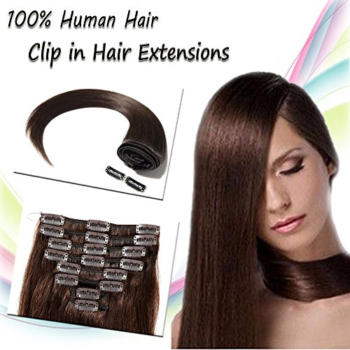16''Long/90g 8pcs Fashion Clips in Remy Human Hair Extensions 8 Colors for Women Beauty Hot Sale- Dark Brown - 2 Woman Hot Indian