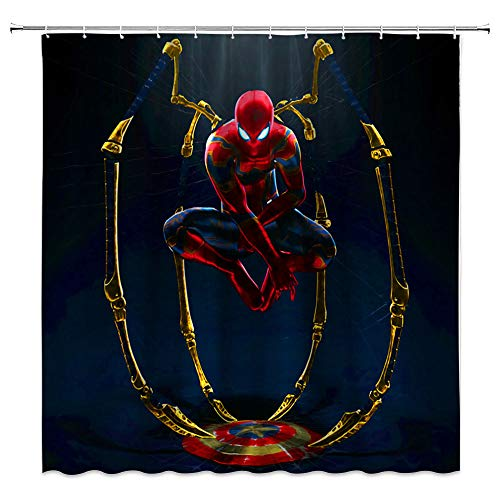 AMHNF Marvel Shower Curtain Abstract Creative Spiderman Golden Spider Legs Captain America Shield Bathroom Decor Waterproof Fabric with 12 Hooks,70x70 Inch,Black Gold
