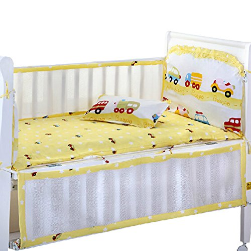 Set of 4 Nursery Baby Bassinet/Crib Bedding Bumper Crashproof Cushion Mini Car