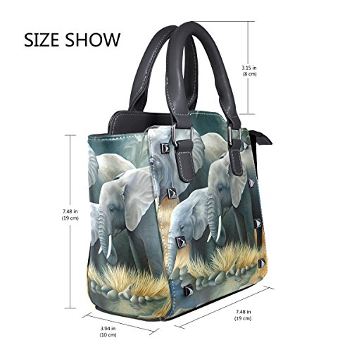 Shoulder Tote Leather Women's Elephants Family Family Tote Elephants TIZORAX Leather TIZORAX Handbags Bags Women's w6RSP4q