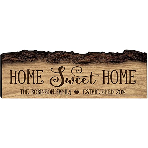 LifeSong Milestones Personalized Custom Family Name Sign with Established Date Engraved with Family Name Home Sweet Home Wall Plaque (Home Sweet Home) (Established Home Signs)