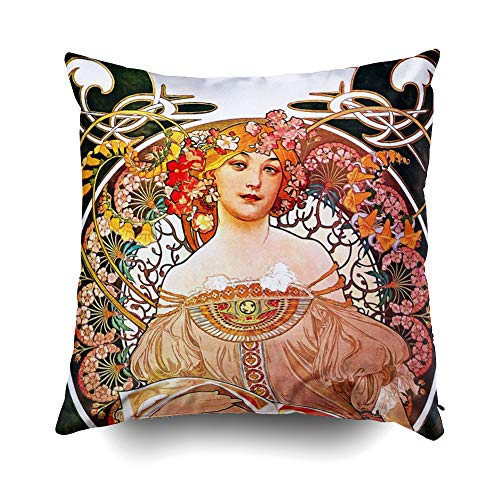 Musesh Christams Mucha Daydream Floral Vintage Art Nouveau Cushions Case Throw Pillow Cover for Sofa Home Decorative Pillowslip Gift Ideas Household Pillowcase Zippered Pillow Covers ()