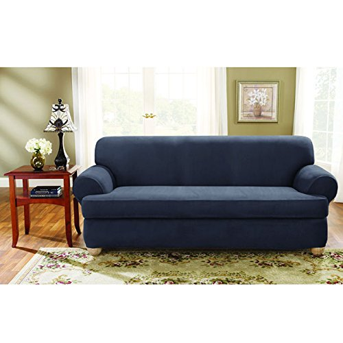 Sure Fit Stretch Suede Sofa 2 Piece T-Cushion Slipcover