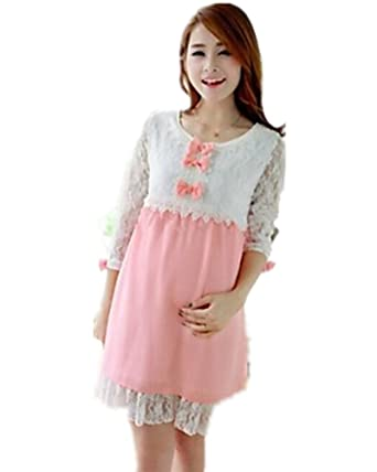 981c5e54c60 BuW Pregnant Women Cute Bow Pink Green Mid-long Dress Maternity Lace  Patchwork Chiffon