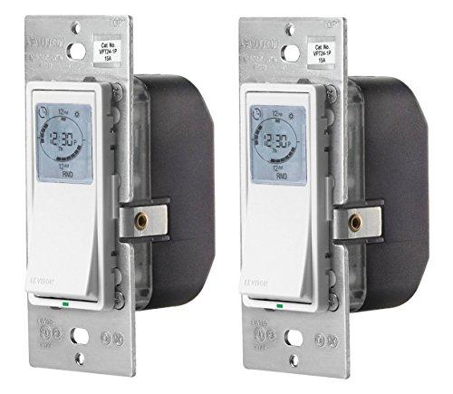 Leviton VPT24-1PZ Vizia 24-Hour Programmable Indoor Timer with Astronomical Clock (2 Pack)
