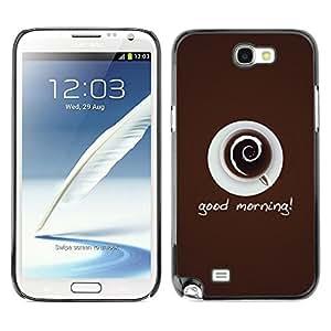 TECHCASE**Cubierta de la caja de protección la piel dura para el ** Samsung Galaxy Note 2 N7100 ** Coffee Cup Mug Cream Drink Caffeine Art