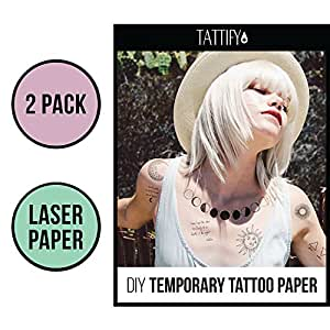 Tattify DIY Temporary Tattoo Paper 2 Sheet Pack For Laser Printers, Printable Long Lasting Custom Tattoos At Home, Sticker Transfer Sheets With Clear Instructions, Waterproof And Sweat Resistant