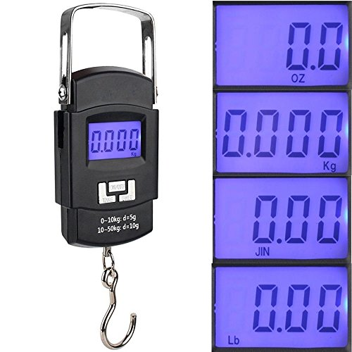 ZHCHL 50KG 110 LBS OZ Handheld LED Digital Luggage Scales Fishing Weighing Accurate Weighting (Color Black) by ZHCHL