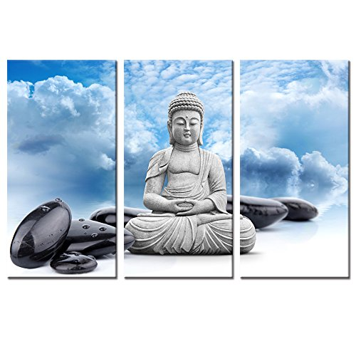 (Budha Canvas Wall Art Decor,Keep Inner Peace,Buddha And Spa Stone In Blue Sky Wall Art Painting Pictures Print On Canvas,Buddha Religion Art for Wall Decor)