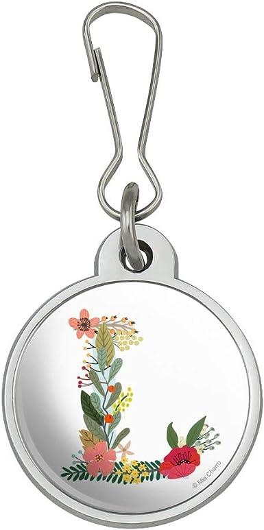 Letter V Floral Monogram Initial Jacket Handbag Purse Zipper Pull Charm