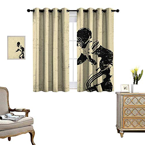 - Warm Family Sports Window Curtain Drape Rugby Player in Action Running Success in Arena Playground Sport Best Team Picture Decorative Curtains for Living Room W72 x L63 Beige Black