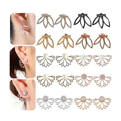 - 10 Pairs Lotus Flower Earrings Jewelry Simple Chic Earrings Best Gift for Women Girls