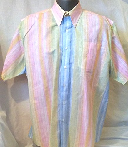 Men's Rainbow Pastel Button Down Short Sleeve LARGE Shirt, Clearwater Outfitters Rainbow Short Sleeve ()
