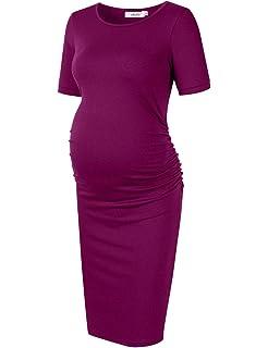 6b8b4419fedd5 Kate Kasin Women Long Sleeve Ruched Wrap Maternity Dress at Amazon ...