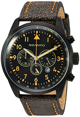Szanto Men's SZ 2252 2250 Series Classic Vintage-Inspired Stainless Steel Watch with Leather Band ()