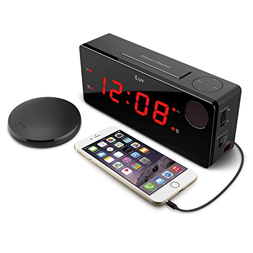 (iLuv TimeShaker Boom - (Upgraded) Digital LED Dual Alarm Clock with Wireless 3 Level Intense Vibrating Shaker, Heavy Sleepers, Radio Alarm Clock, USB Charging Port, Dimmer for Kids and Bedroom )