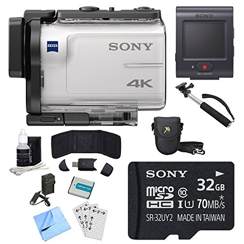 Sony FDR-X3000R 4K GPS Action Camera, Selphie Stick, 32GB Card, and Accessory Bundle - Includes Camera with Remote, Selfie Stick, 32GB micro Memory Card, Carrying Case, Battery, and More by Sony