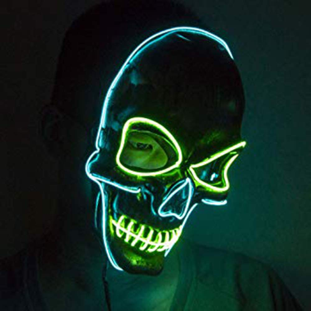 Ausein Halloween LED Mask Scary Skull Mask LED Light Up Lighting Skeleton Masquerade Mask for Halloween Cosplay Festival Party, Blue Green