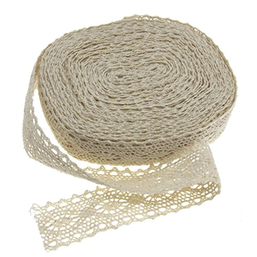 12m x 3cm Cotton Lace Edge Trim Ribbon Craft Cotton Crochet Ivory Vintage (Ivory Lace Ribbon)