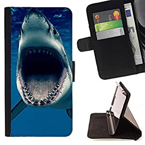 Momo Phone Case / Flip Funda de Cuero Case Cover - Jaws Océano Shark Blue Sea Predator - Sony Xperia M2