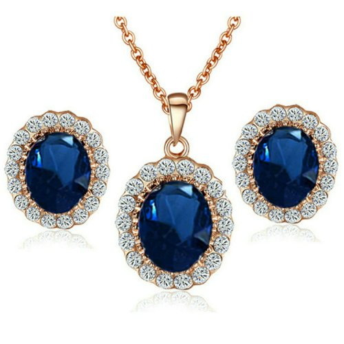Yoursfs Imitated Sapphire Jewelry Set Kate Middleton Style Rose GP Royal Blue Stud Earring and Necklace Set - 0.5' Blue Packing