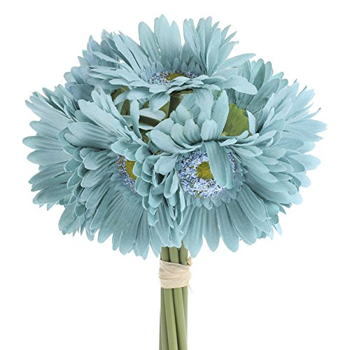 Factory Direct Craft® 6 Stemmed Artificial Colorful Teal Gerbera Daisy Bouquet for Centerpieces, Designing and Displaying (Gerbera Daisy Boutonniere Wedding)