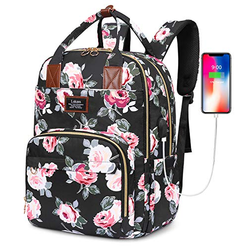 SOCKO Laptop Backpack for Women Floral Hiking Backpack Nylon Travel Backpack with USB Charging Port Water-Resistant School Backpack Fits 15.6 Inches Laptop (Black Peony Flower)