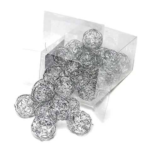 24 Drahtkugeln 3cm, Drahtbälle, Dekokugeln/ Sparbox TOP PREIS !!! (silber)