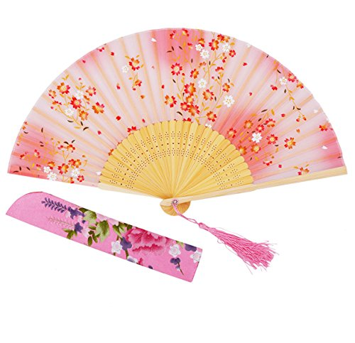 "Amajiji 8.27""(21cm) Hand Held Bamboo Silk Folding Fan Hand Fan,Chinese / Japanese Charming Elegant Vintage Retro Style,Women Ladys Girls Best Gifts (Pink)"