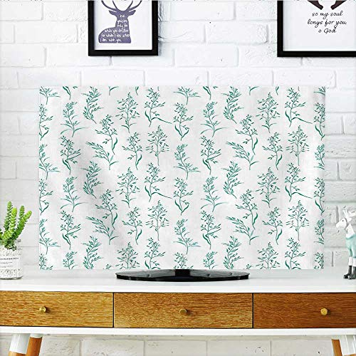 Auraisehome Front Flip Top Floral Pattern Moderate Essential Botanical Herbs Flower Plants Fresh Twigs Organic Theme Green Front Flip Top W30 x H50 INCH/TV 52